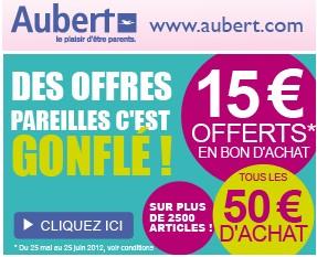 15 euros gratuits Aubert