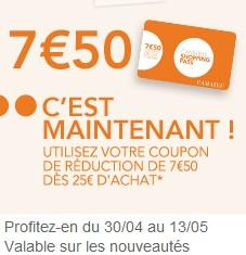7,50 euros maintenant sur Camaïeu