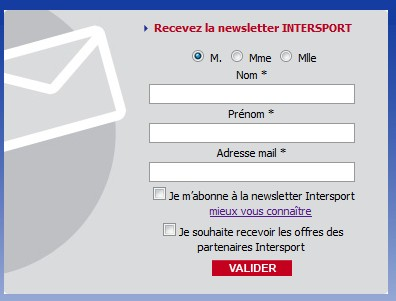 newletter Intersport Bon Reduction 5 euros