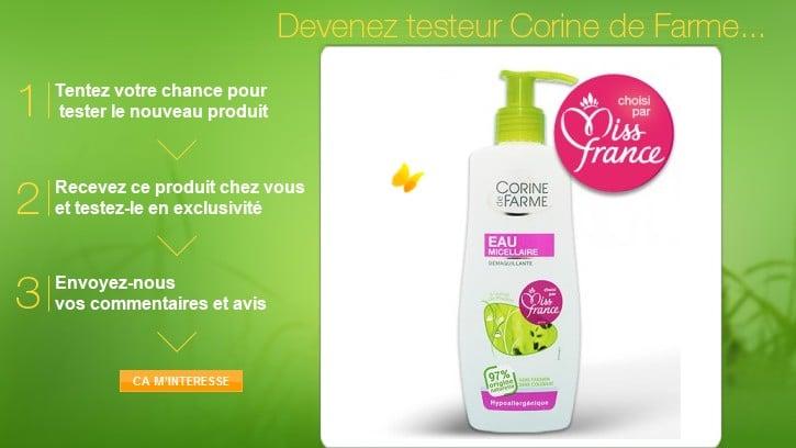 Produits Corinne de Farme gratuits a tester