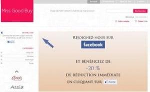 20 pourcents reduction lingerie miss good buy fan facebook