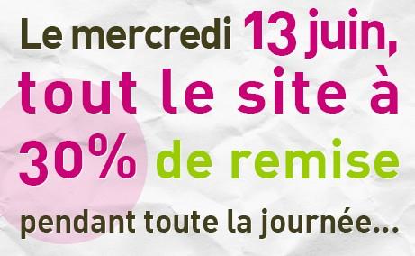 30 pourcents de remise sur tout le site BIO 13 juin 2012