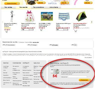 5 euros gratuits sur Mytoys