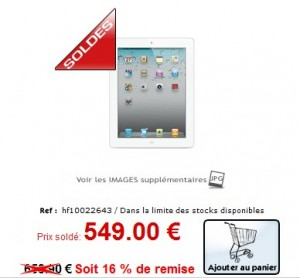 Apple iPad 2 64GoBlanc a 549 euros