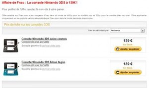 Nintendo 3DS a 139 euros FNAC