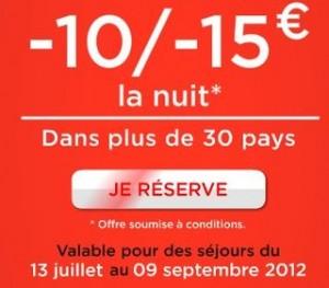 moins 15 euros sejours hotel IBIS ete 2012
