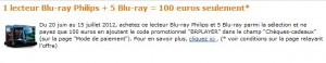 offre lecteur blu ray philips plus 5 Blu-ray 100 euro