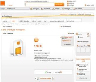 Carte Sim Mobicarte Orange A 1 99 Euros