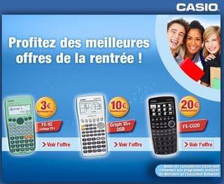 jusqua 20 euros rembourses sur lachat dune calculatrice casio Jusquà 20 euros remboursés sur l'achat d'une calculatrice Casio