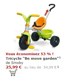 promo tricycle smoby be move garden 25 99 euros. Black Bedroom Furniture Sets. Home Design Ideas