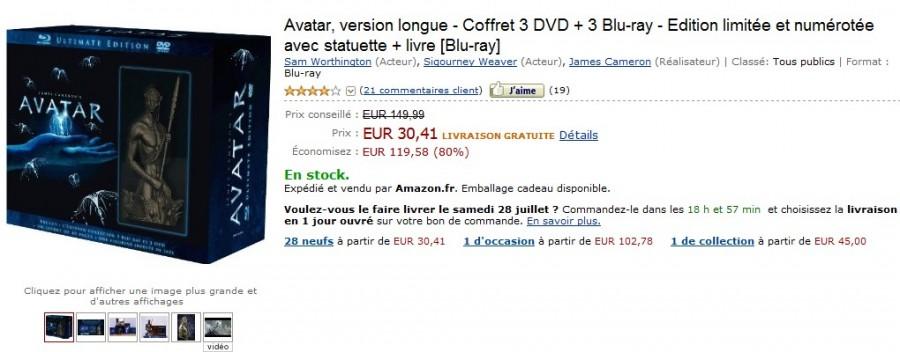 SUPER PROMO ! Le coffret Edition limitée et numérotée Avatar, version longue - Coffret 3 DVD + 3 Blu-ray + statuette + livre à 30,41 au lieu de 119 !!!