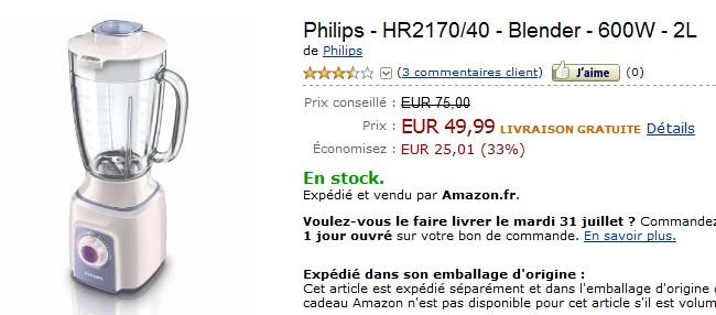 Blender Philips à seulement 49.99 euros port inclus.