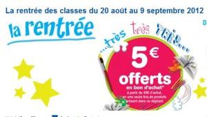 bon d 39 achat 5 euros toys 39 r us rentree scolaire 2012. Black Bedroom Furniture Sets. Home Design Ideas