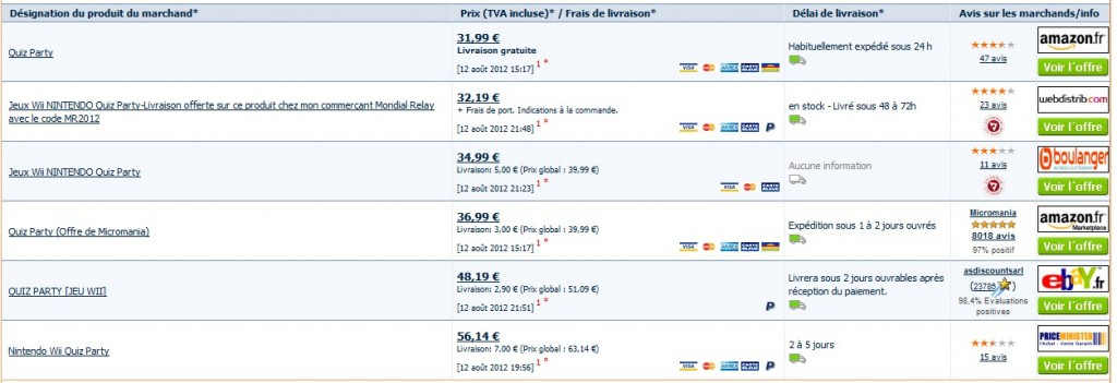 Quiz party pour wii a seulement 31 99 euros - Prix moins cher du net ...
