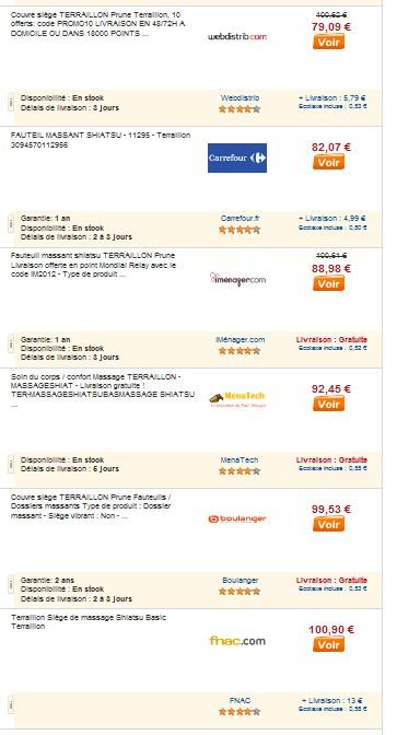 Le moins cher siege massant teraillon shiatsu a seulement 54 69 euros - Prix moins cher du net ...