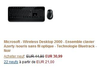 promo clavier souris microsoft sans fil seulement 30 99. Black Bedroom Furniture Sets. Home Design Ideas