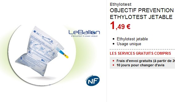 Ethylotest jetable pour seulement 1,49 euros chez Darty
