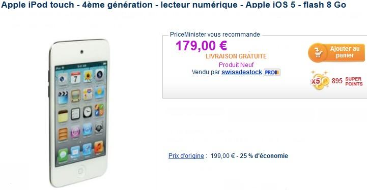 Promo ipod touch 4g 8go pour seulement 179 euros port - Livraison gratuite vert baudet ...