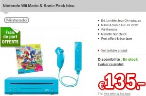 Mini prix console wii bleue mario sonic aux jo 2012 seulement 135 e - Prix des frais de port ...