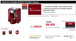 promo cafetiere bosch tassimo a moins de 100 euros. Black Bedroom Furniture Sets. Home Design Ideas