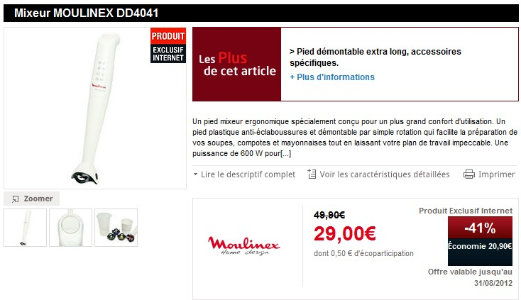 promo mixeur moulinex click mix a seulement 29 euros. Black Bedroom Furniture Sets. Home Design Ideas