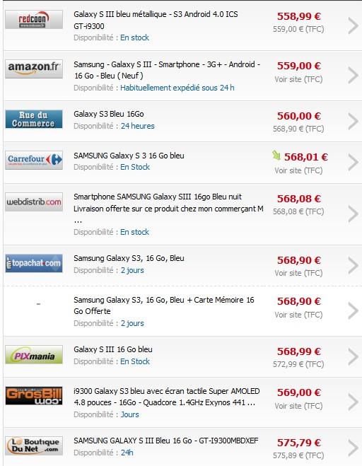 Le plus bas prix sur le Samsung Galaxy S3