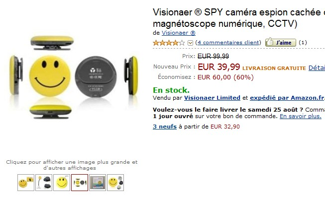 Promo : Caméra espion badge Visionaer SPY à seulement 39,99 euros au lieu de 99,99 euros