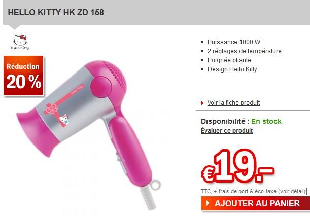 PROMO Sèche-cheveux Hello Kitty à moins de 20 euros