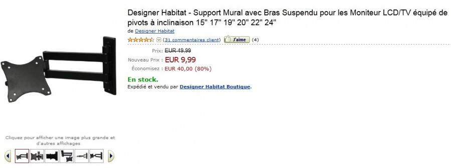 Support mural pour TV et Moniteur LCD à seulement 9,99 euros au lieu de 49,99 – STOCK LIMITE