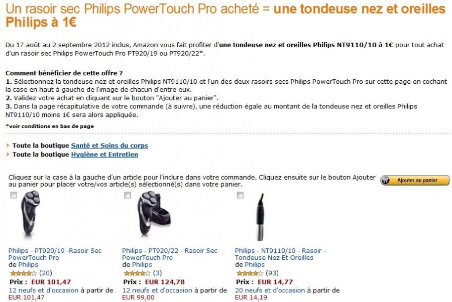 Une tondeuse nez&oreilles Philips à 1 euro pour l'achat d'un rasoir  PowerTouch Pro Philips acheté
