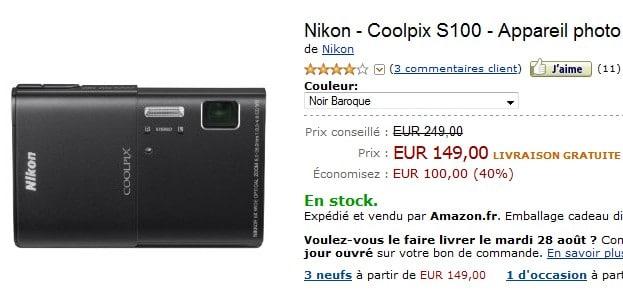 vente flash nikon coolpix s100 pour seulement 149 euros. Black Bedroom Furniture Sets. Home Design Ideas
