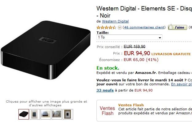 Vente Flash! Disque Dur Externe Western Digital - 1 To - USB 3.0 à seulement 94,90 euros (port inclus) jusqu'à vendredi