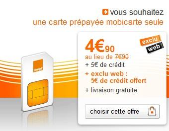 Vente Flash ! La carte prépayée 10 euros Orange Mobicarte à  4,90 euros au lieu de 7,90