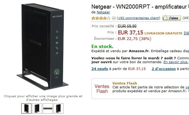 Vente Flash ! L'amplificateur Wifi Netgear à seulement 37,15 euros (port inclus) au lieu de 59,90
