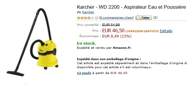 promo aspirateur karcher eau et poussiere a seulement 46. Black Bedroom Furniture Sets. Home Design Ideas