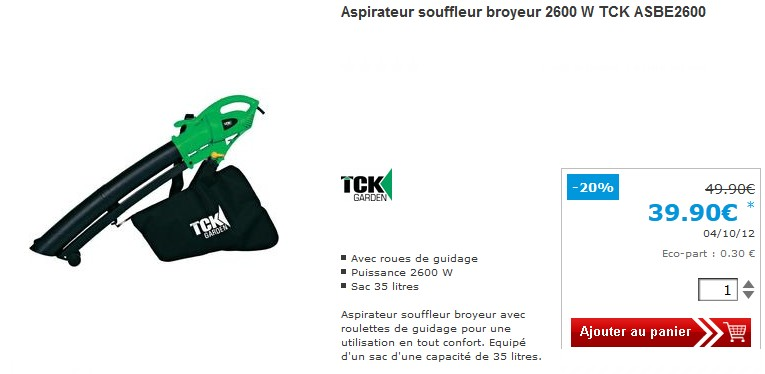 promo aspirateur souffleur broyeur 2600 w pour seulement 39 90 euro. Black Bedroom Furniture Sets. Home Design Ideas