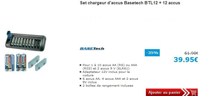 SUPER PROMO ! Chargeur + 12 piles rechargeables AA, AAA et 9V à seulement 39,95 euros au lieu 61,90 euros