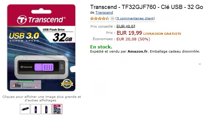 vente flash cle usb 32go a seulement 24,99 euros  au lieu de 40 euros