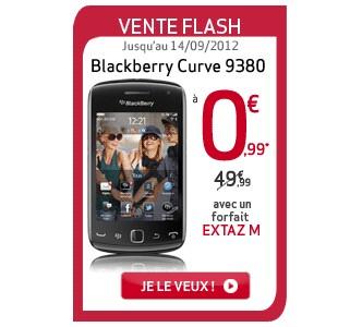 vente flash virgin mobile blackberry curve 9380 a 0 99 euros. Black Bedroom Furniture Sets. Home Design Ideas