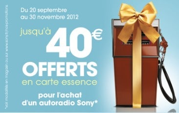 recevez jusqu 39 40 euros d 39 essence pour l achat d un autoradio sony. Black Bedroom Furniture Sets. Home Design Ideas