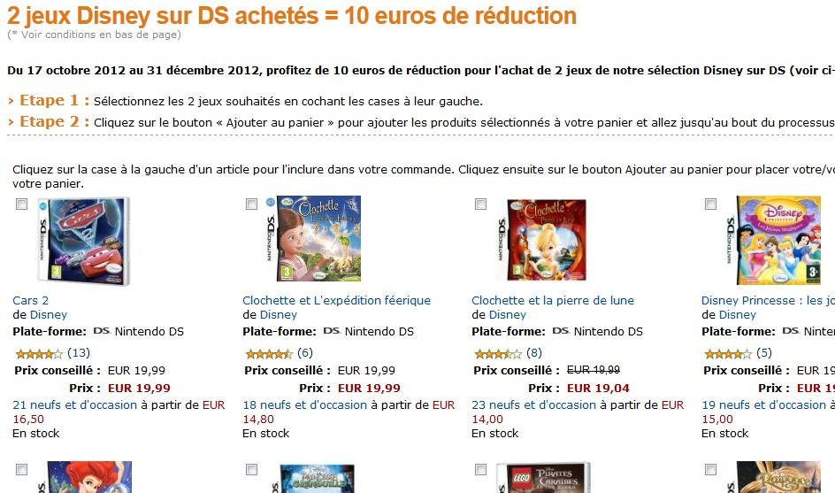 10 euros de reduction sur achat 2 jeux disney nintendo ds. Black Bedroom Furniture Sets. Home Design Ideas