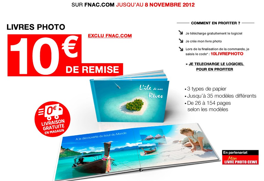 code promo livre photo fnac 10 euros de reduction. Black Bedroom Furniture Sets. Home Design Ideas