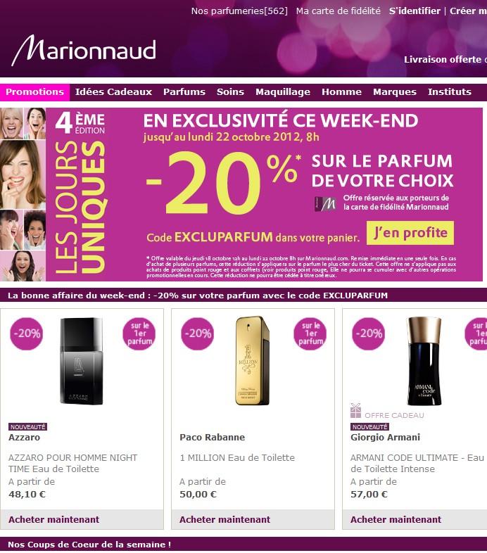 code promo 20 reduction parfum chez marionnaud. Black Bedroom Furniture Sets. Home Design Ideas