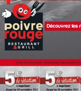 coupon poivre rouge restaurant grill 5 euros de reduction immediate sur laddition 266x300 COUPON Poivre Rouge Restaurant Grill ! 5 euros de réduction immédiate sur l'addition