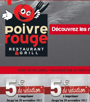 COUPON Poivre Rouge Restaurant Grill ! 5 euros de réduction immédiate sur l'addition