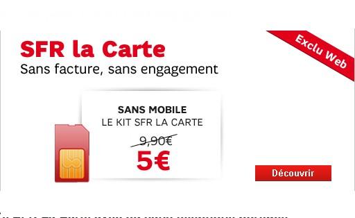 promo carte pr pay e sfr a seulement 5 euros la carte de 10 euros. Black Bedroom Furniture Sets. Home Design Ideas