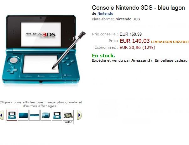 Pas cher nintendo 3ds bleu lagon vendue 149 03 euros - Code promo 3 suisses frais de port gratuit ...