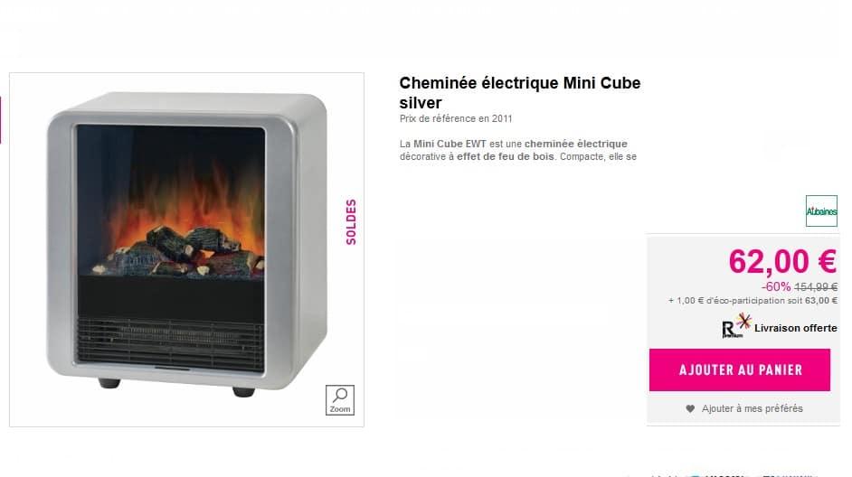 Promo chemin e lectrique cube avec effet feu de bois a for Cheminee feu de bois