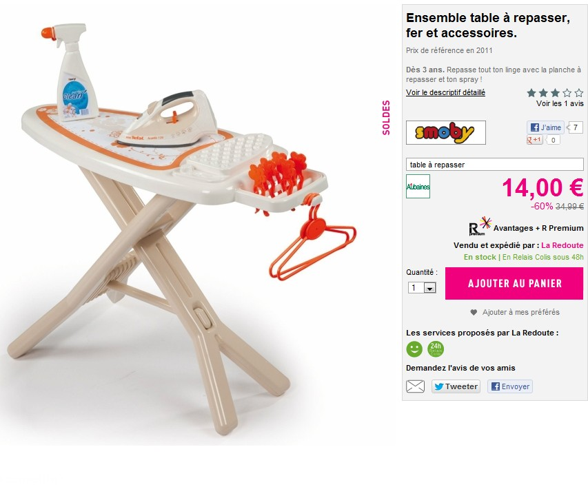 sodes fer et table a repasser smoby a seulement 14 euro. Black Bedroom Furniture Sets. Home Design Ideas