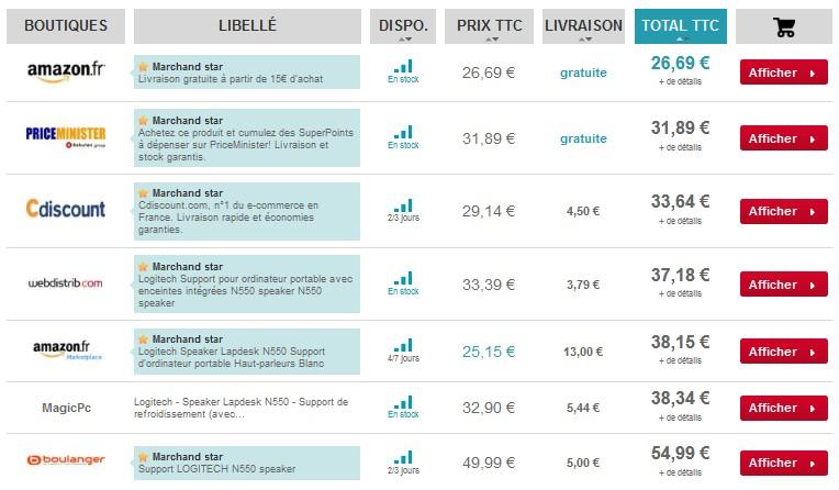 Support d'ordinateur portable Haut-parleurs Logitech Speaker Lapdesk le moins cher du net